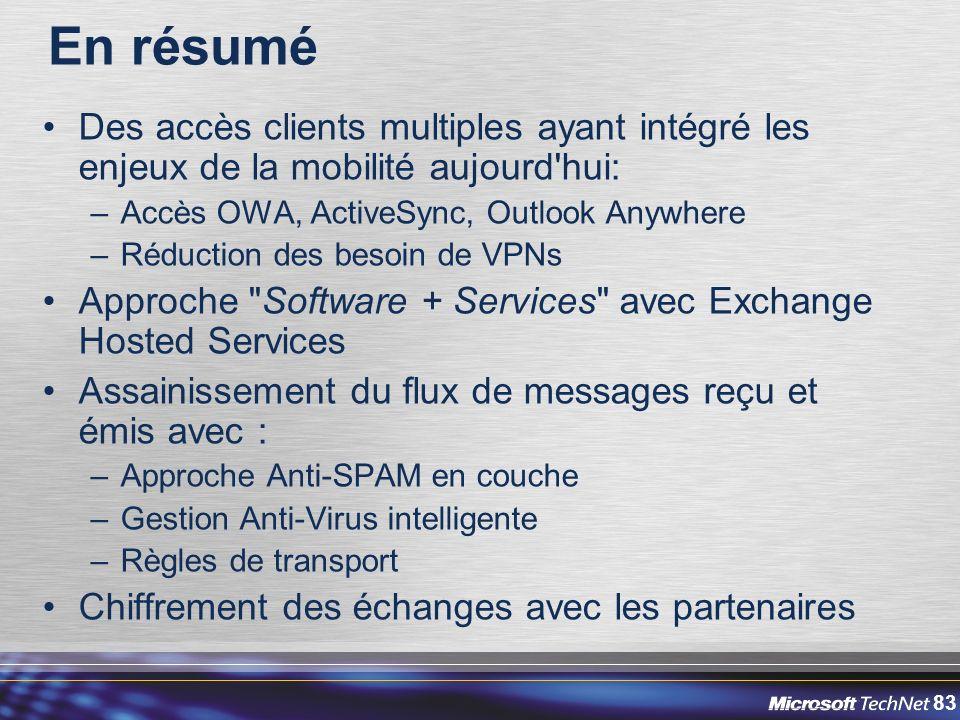 En résumé Des accès clients multiples ayant intégré les enjeux de la mobilité aujourd hui: Accès OWA, ActiveSync, Outlook Anywhere.