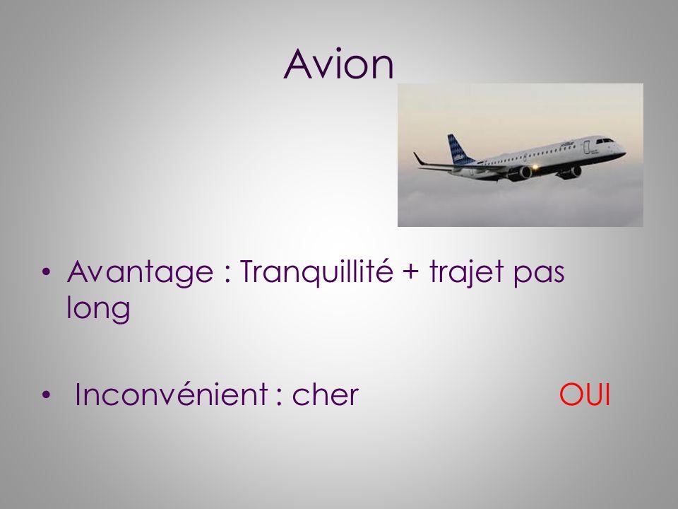 Avion Avantage : Tranquillité + trajet pas long