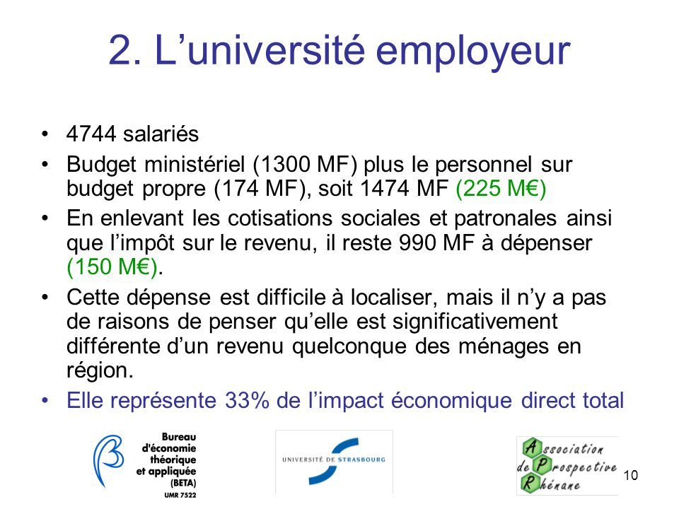 2. L'université employeur