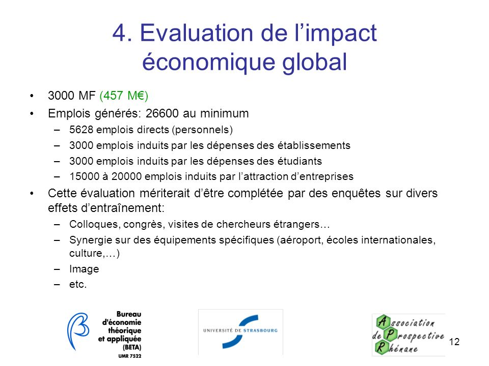 4. Evaluation de l'impact économique global