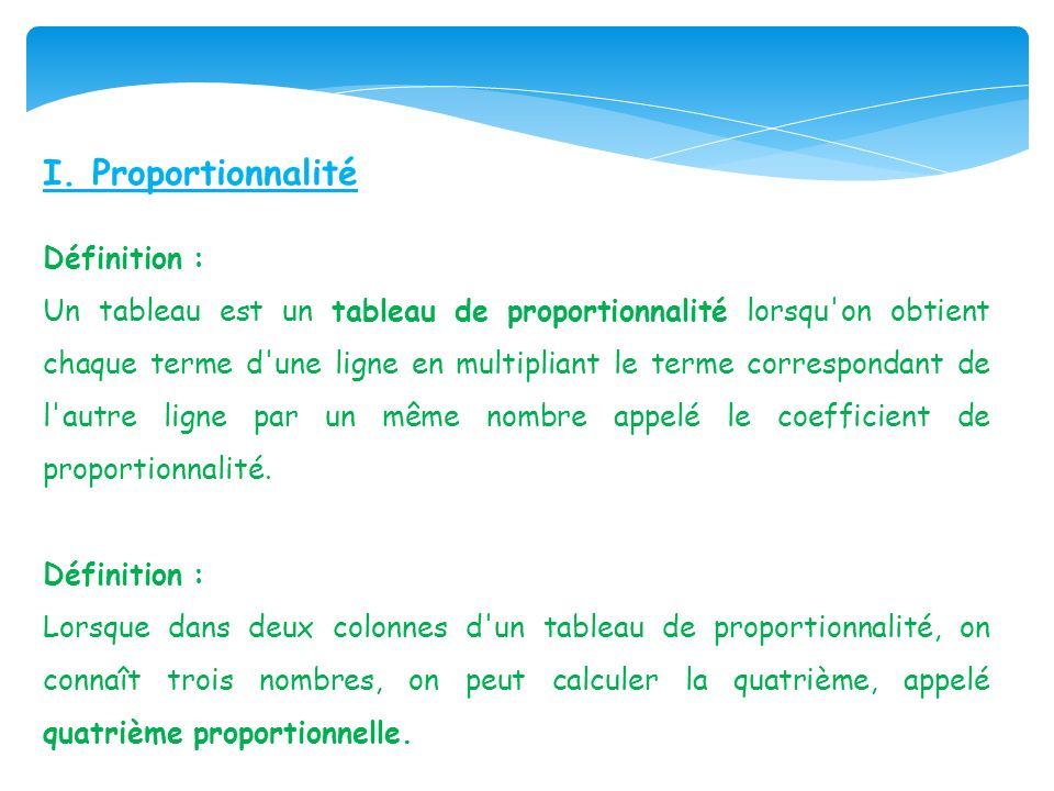 I. Proportionnalité Définition :