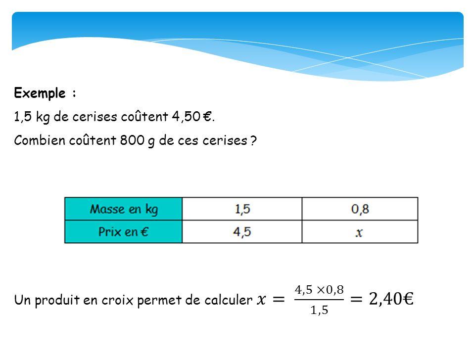 Exemple : 1,5 kg de cerises coûtent 4,50 €. Combien coûtent 800 g de ces cerises .