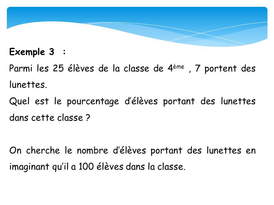 Exemple 3 : Parmi les 25 élèves de la classe de 4ème , 7 portent des lunettes.