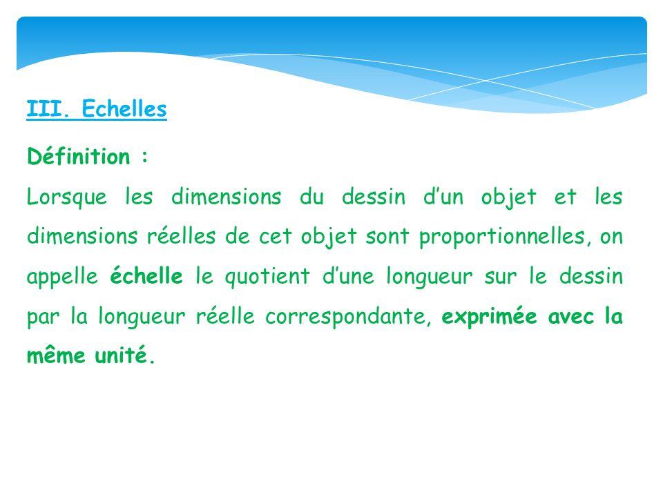 III. Echelles Définition :