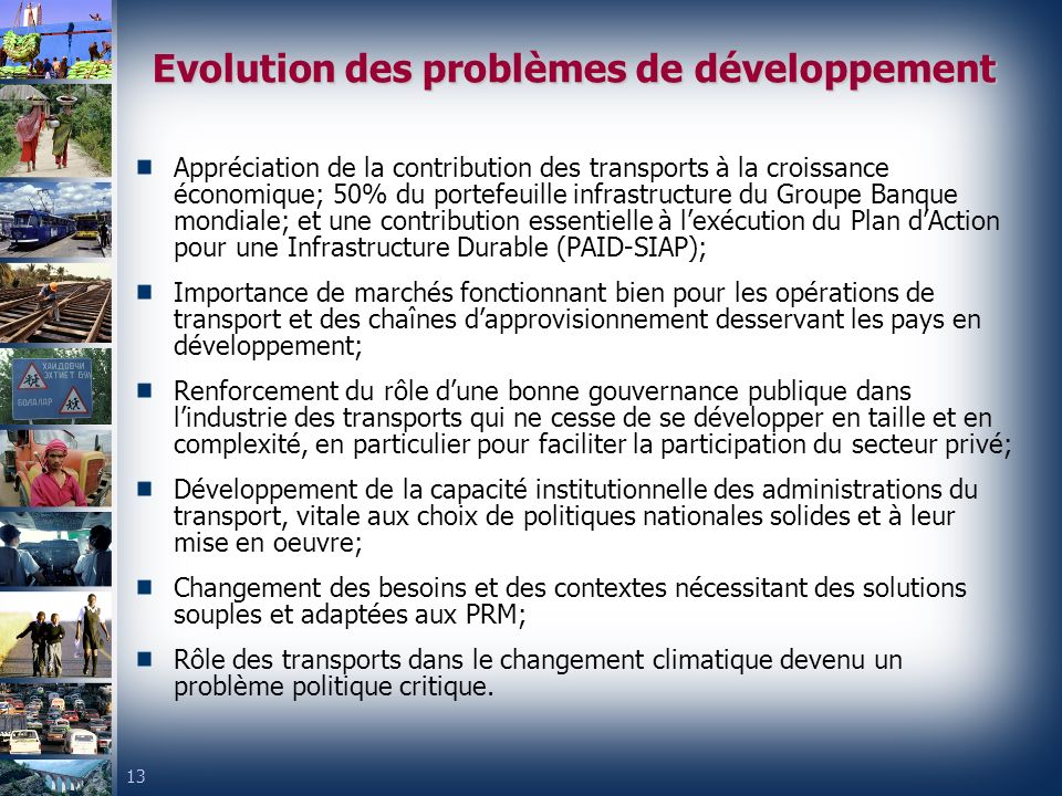 Evolution des problèmes de développement