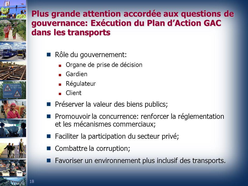 Plus grande attention accordée aux questions de gouvernance: Exécution du Plan d'Action GAC dans les transports