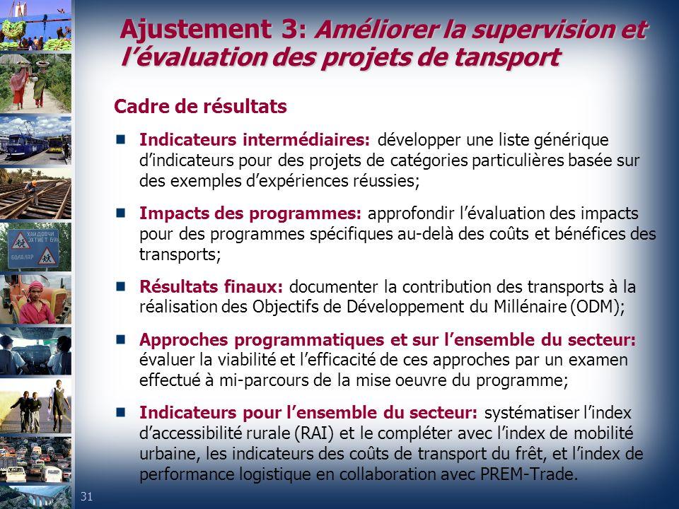 Ajustement 3: Améliorer la supervision et l'évaluation des projets de tansport