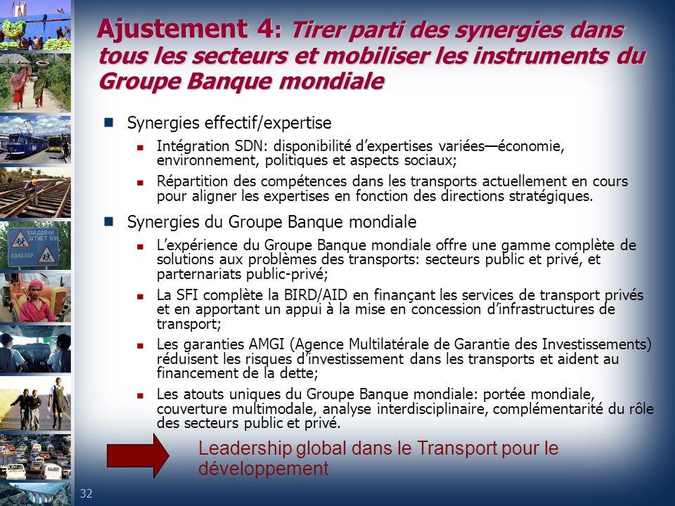 Ajustement 4: Tirer parti des synergies dans tous les secteurs et mobiliser les instruments du Groupe Banque mondiale