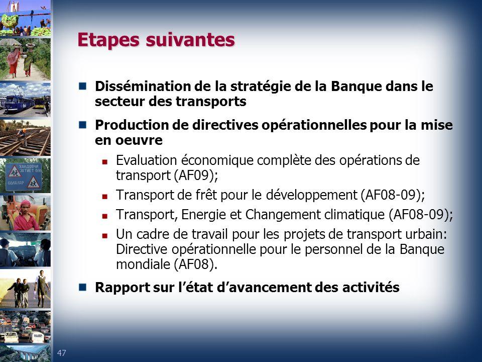 Etapes suivantes Dissémination de la stratégie de la Banque dans le secteur des transports.