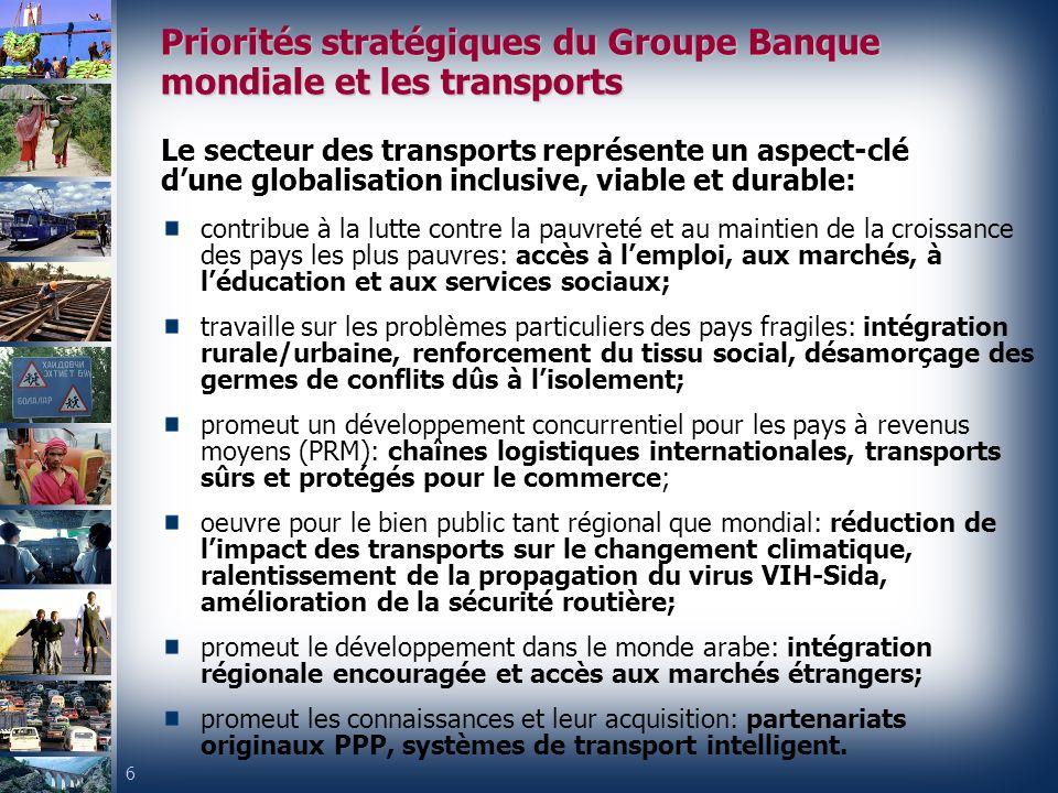 Priorités stratégiques du Groupe Banque mondiale et les transports