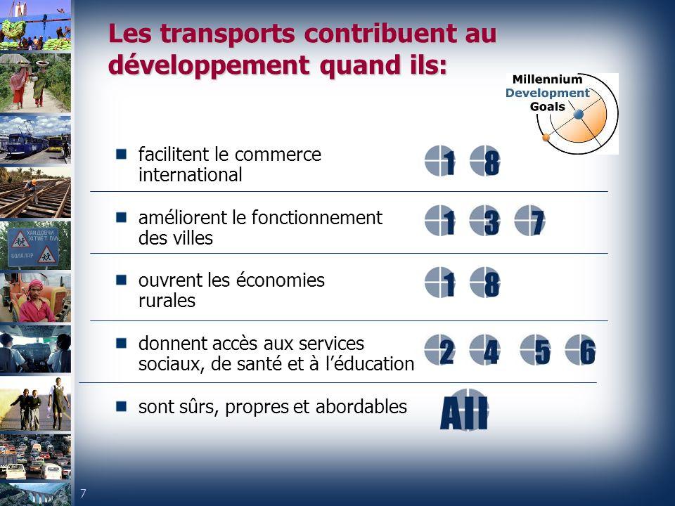 Les transports contribuent au développement quand ils: