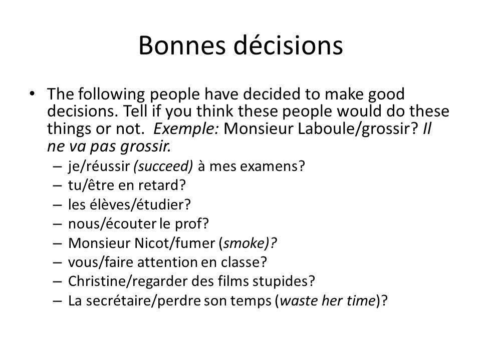 Bonnes décisions
