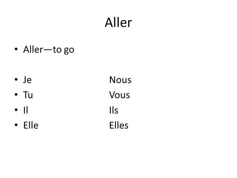 Aller Aller—to go Je Nous Tu Vous Il Ils Elle Elles