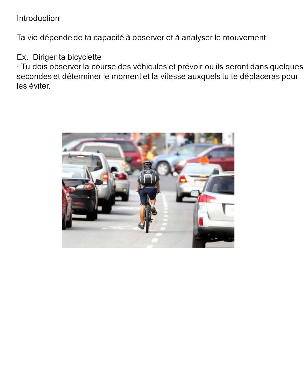 Introduction Ta vie dépende de ta capacité à observer et à analyser le mouvement. Ex. Diriger ta bicyclette.