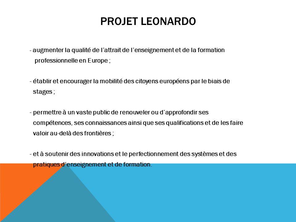 Projet leonardo professionnelle en Europe ;