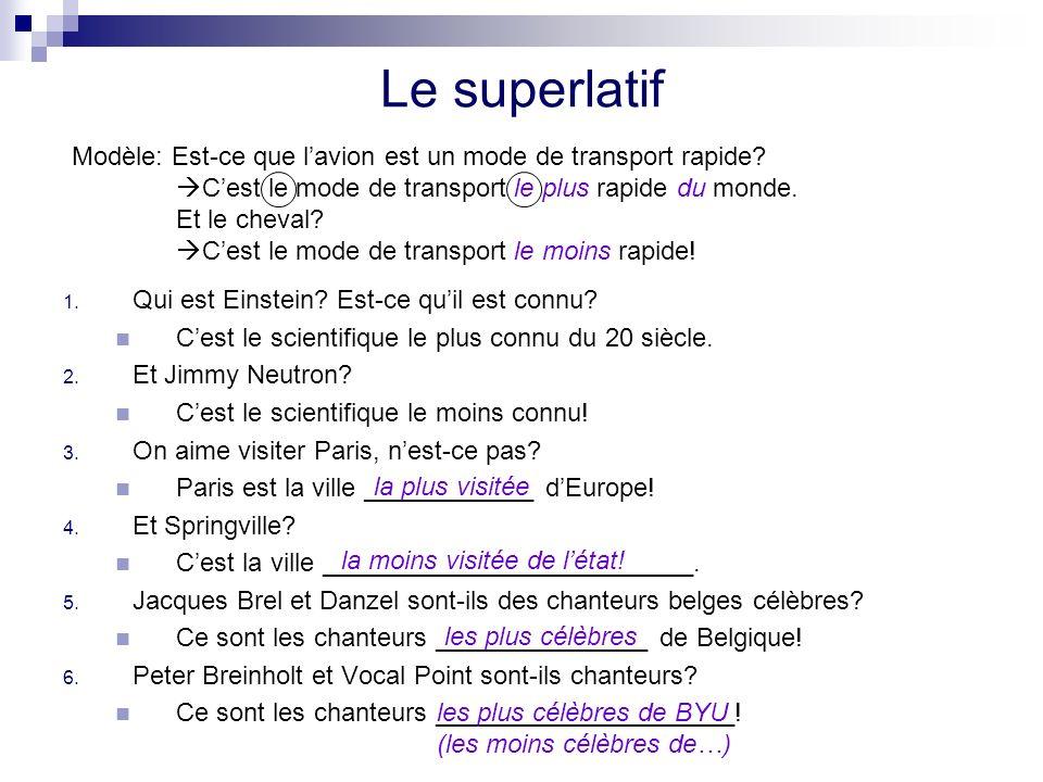 Le superlatif Modèle: Est-ce que l'avion est un mode de transport rapide C'est le mode de transport le plus rapide du monde.