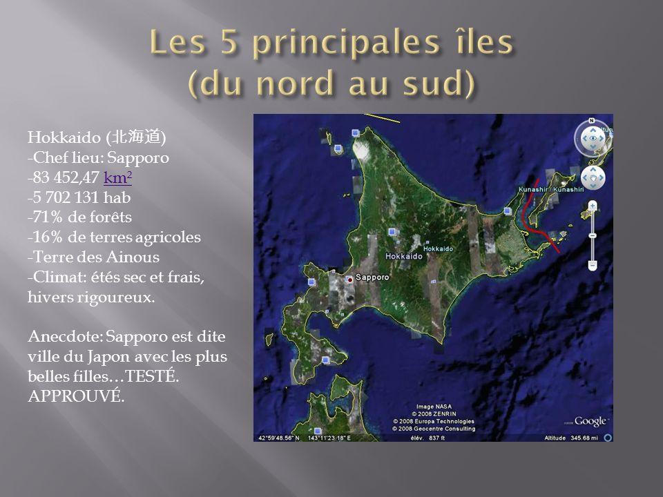 Les 5 principales îles (du nord au sud)