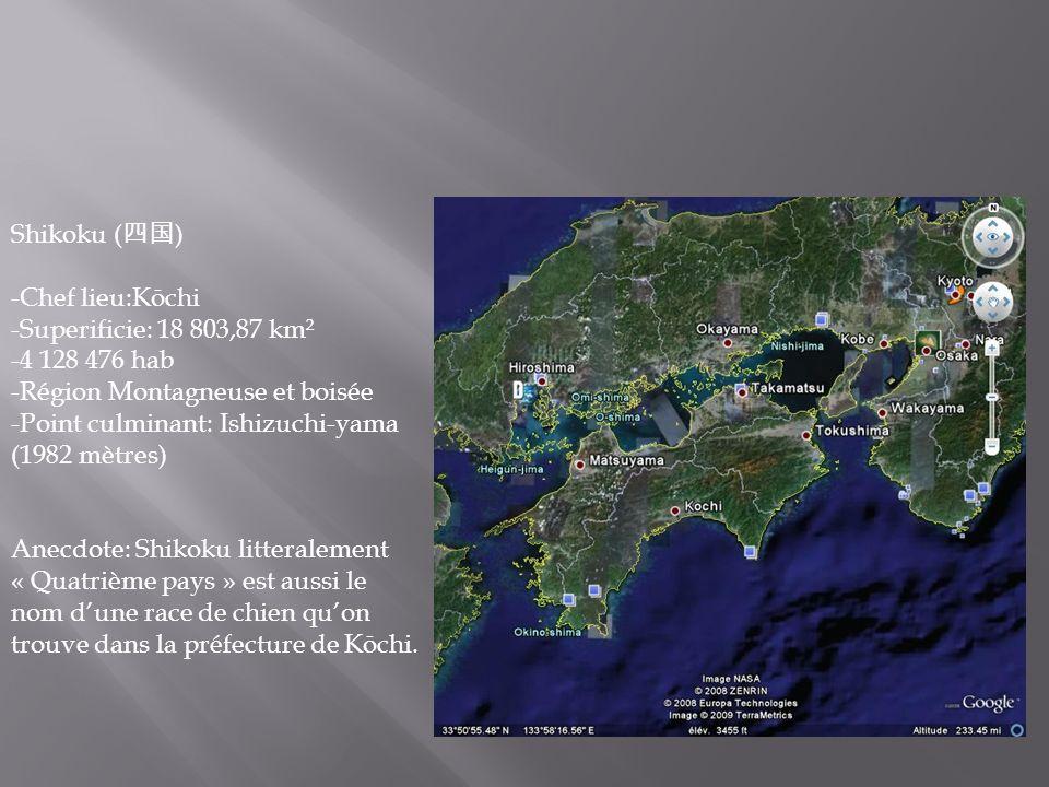 Shikoku (四国) -Chef lieu:Kōchi. -Superificie: 18 803,87 km². -4 128 476 hab. -Région Montagneuse et boisée.