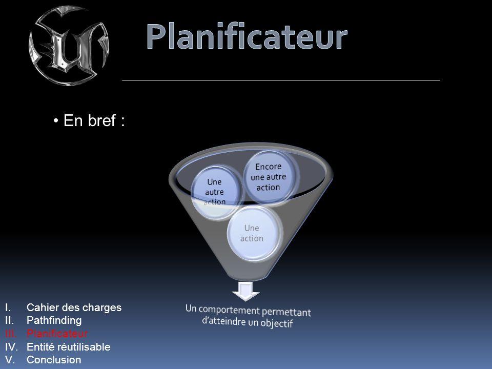 Planificateur En bref : Cahier des charges Pathfinding Planificateur