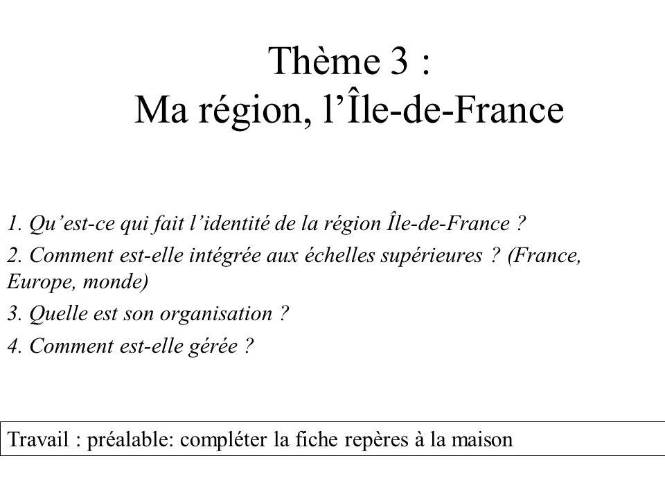 Thème 3 : Ma région, l'Île-de-France