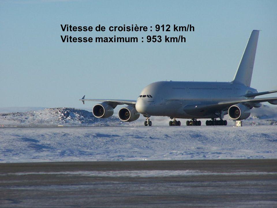 Vitesse de croisière : 912 km/h Vitesse maximum : 953 km/h