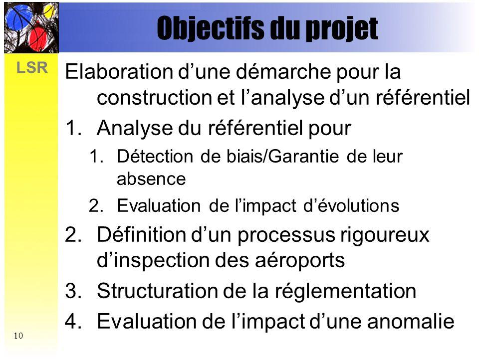 Objectifs du projet Elaboration d'une démarche pour la construction et l'analyse d'un référentiel. Analyse du référentiel pour.