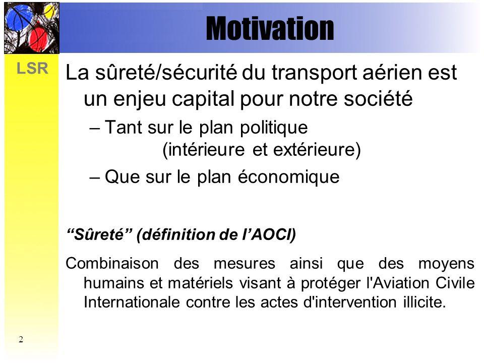 Motivation La sûreté/sécurité du transport aérien est un enjeu capital pour notre société. Tant sur le plan politique (intérieure et extérieure)