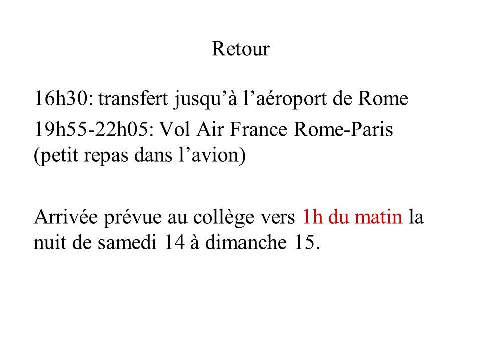 Retour 16h30: transfert jusqu'à l'aéroport de Rome. 19h55-22h05: Vol Air France Rome-Paris (petit repas dans l'avion)