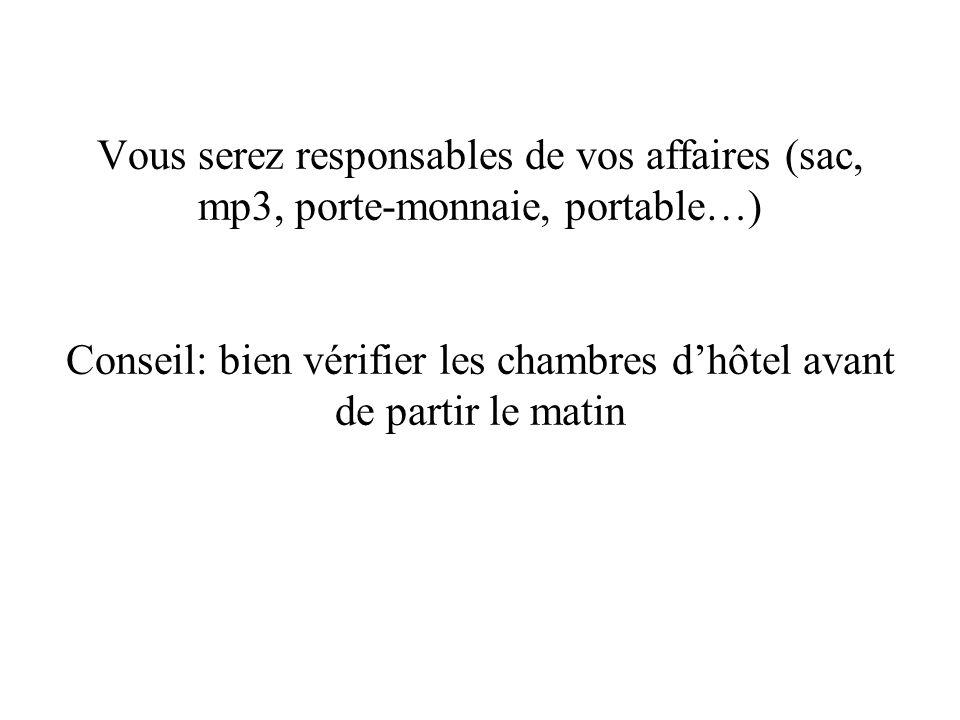 Vous serez responsables de vos affaires (sac, mp3, porte-monnaie, portable…) Conseil: bien vérifier les chambres d'hôtel avant de partir le matin
