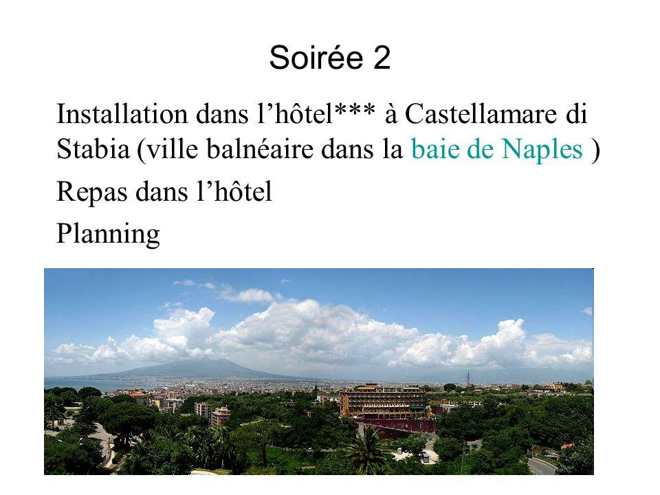 Soirée 2 Installation dans l'hôtel*** à Castellamare di Stabia (ville balnéaire dans la baie de Naples )