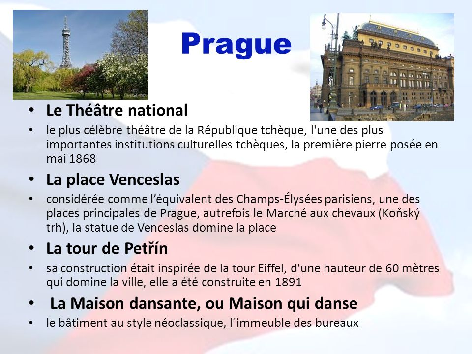 Prague Le Théâtre national La place Venceslas La tour de Petřín