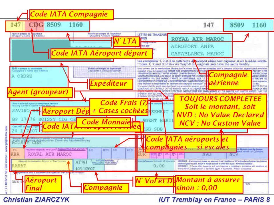 Code IATA Compagnie N° LTA. Code IATA Aéroport départ. Compagnie. aérienne. Expéditeur. Agent (groupeur)