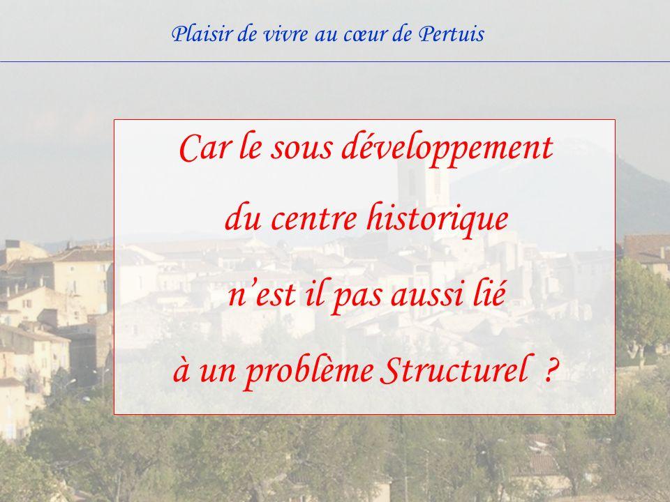 Car le sous développement du centre historique n'est il pas aussi lié à un problème Structurel