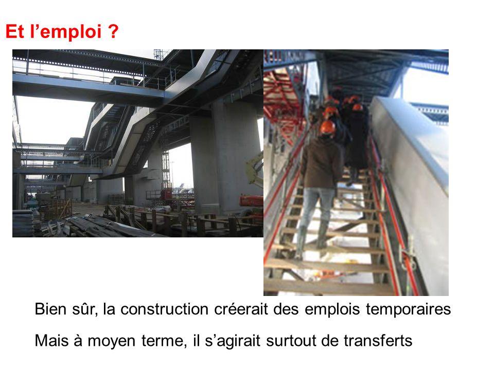 Et l'emploi Bien sûr, la construction créerait des emplois temporaires.