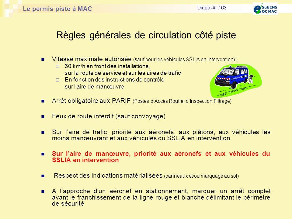 Règles générales de circulation côté piste