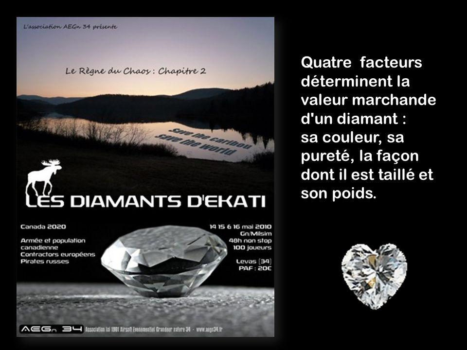 Quatre facteurs déterminent la valeur marchande d un diamant : sa couleur, sa pureté, la façon dont il est taillé et son poids.