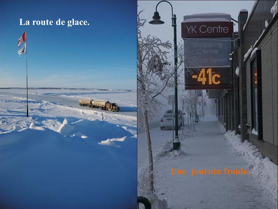 La route de glace. Une journée froide .