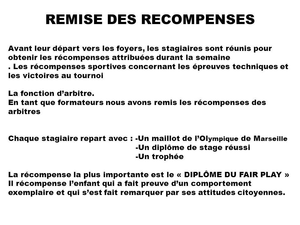 REMISE DES RECOMPENSES