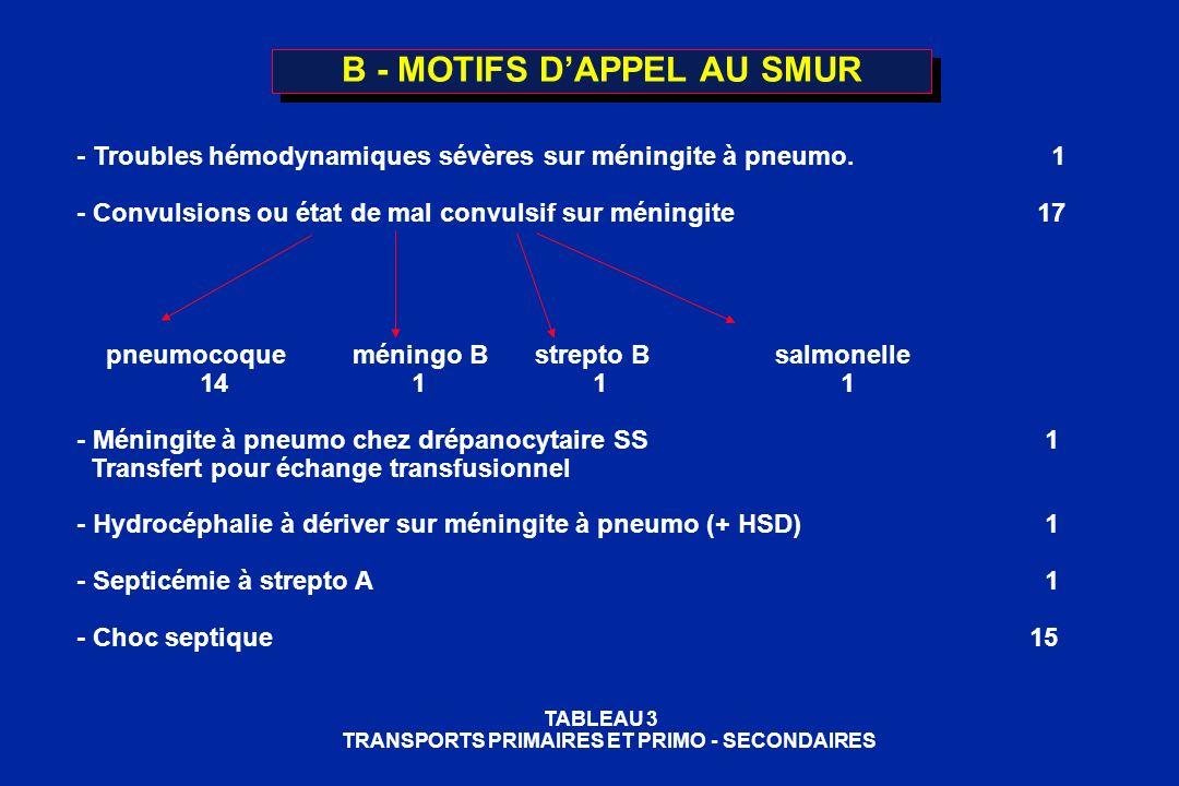 B - MOTIFS D'APPEL AU SMUR