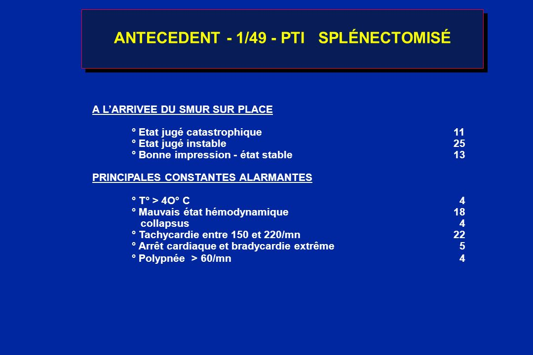 ANTECEDENT - 1/49 - PTI SPLÉNECTOMISÉ