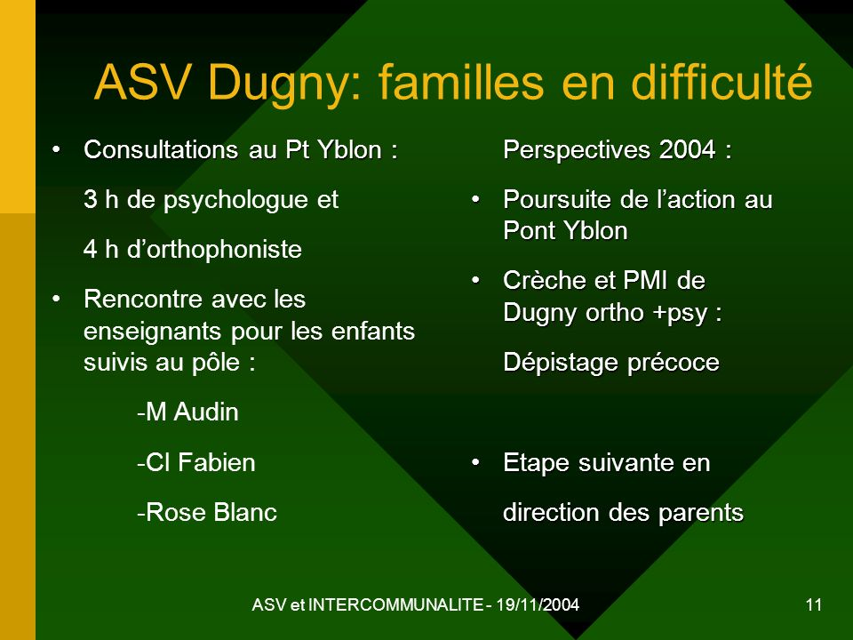ASV Dugny: familles en difficulté
