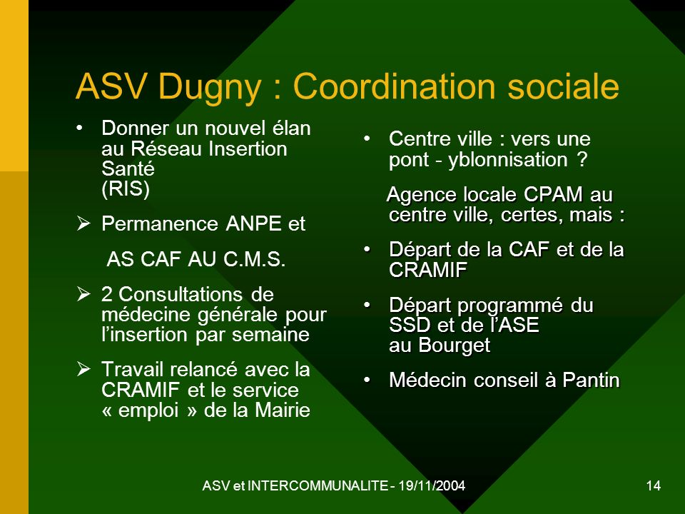 ASV Dugny : Coordination sociale