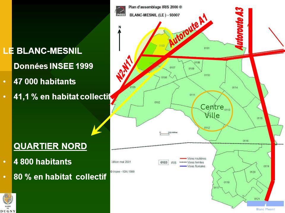 LE BLANC-MESNIL QUARTIER NORD Données INSEE 1999 47 000 habitants