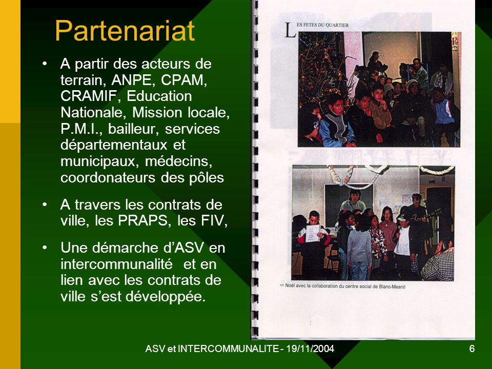 ASV et INTERCOMMUNALITE - 19/11/2004