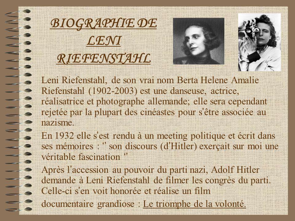 BIOGRAPHIE DE LENI RIEFENSTAHL