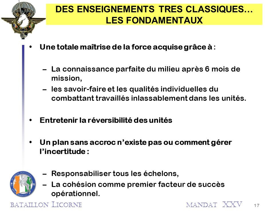 DES ENSEIGNEMENTS TRES CLASSIQUES… LES FONDAMENTAUX