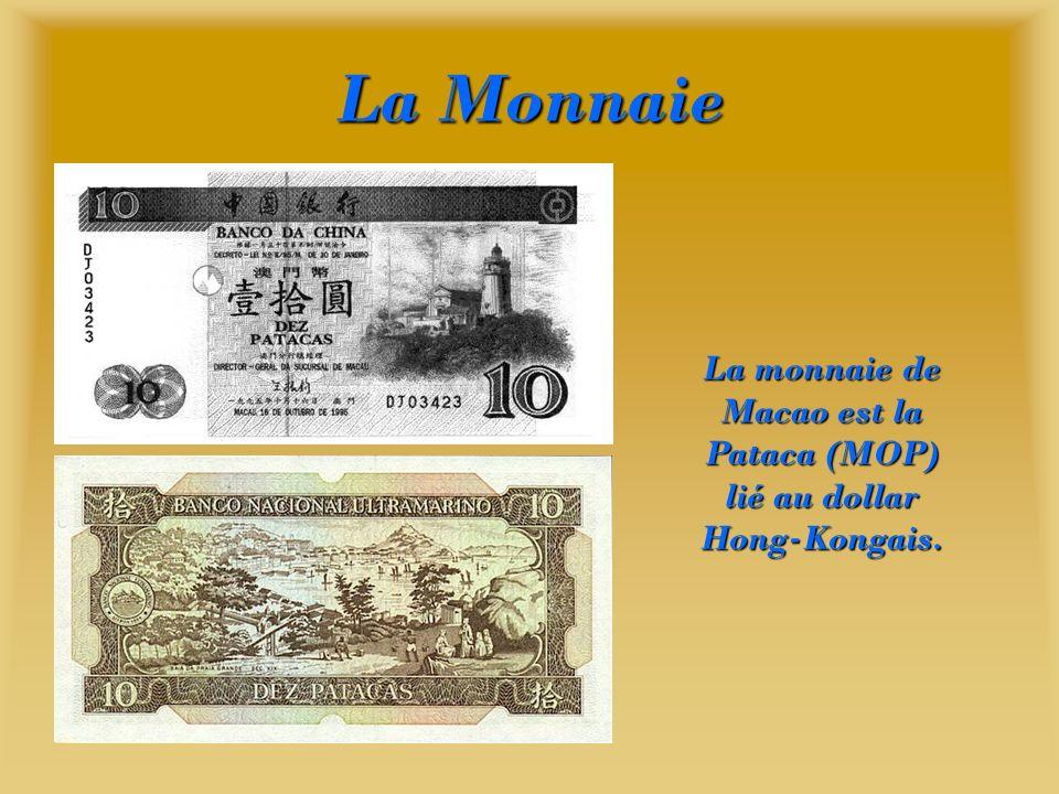 La monnaie de Macao est la Pataca (MOP) lié au dollar Hong-Kongais.