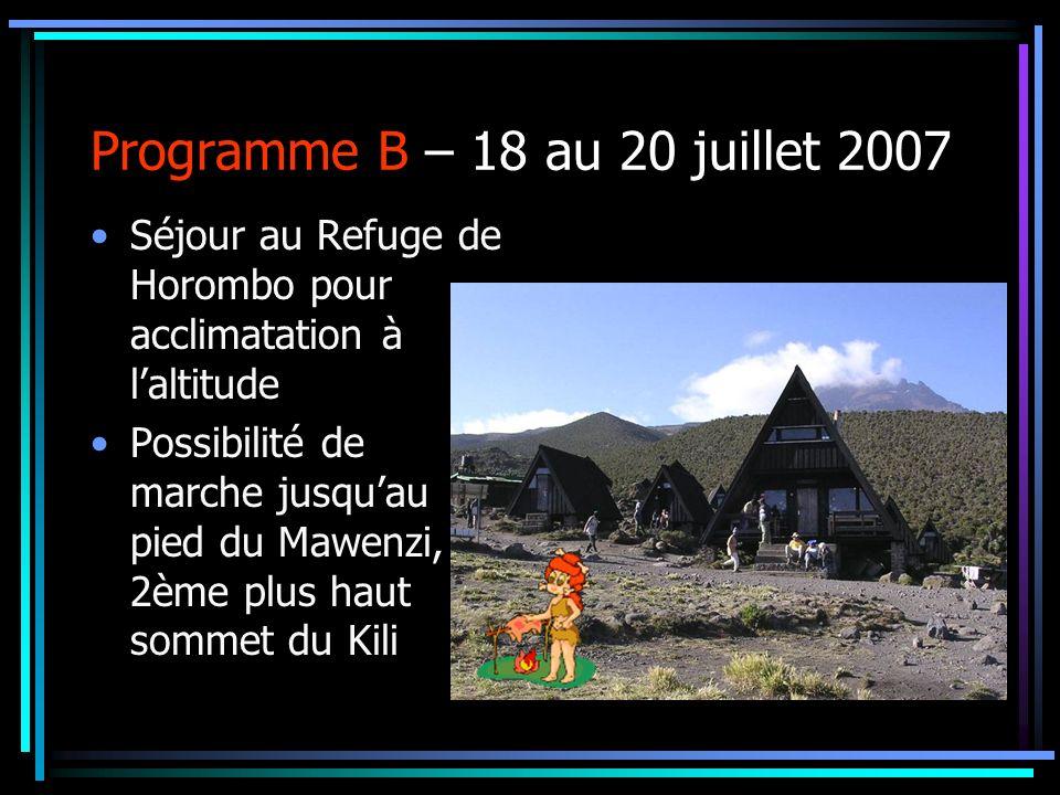 Programme B – 18 au 20 juillet 2007