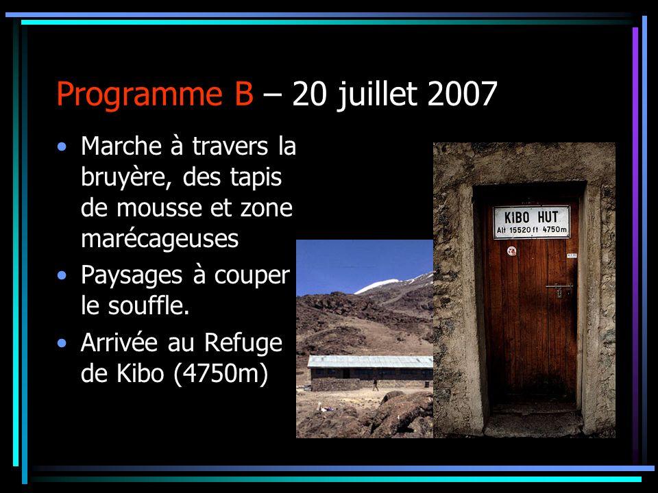 Programme B – 20 juillet 2007 Marche à travers la bruyère, des tapis de mousse et zone marécageuses.
