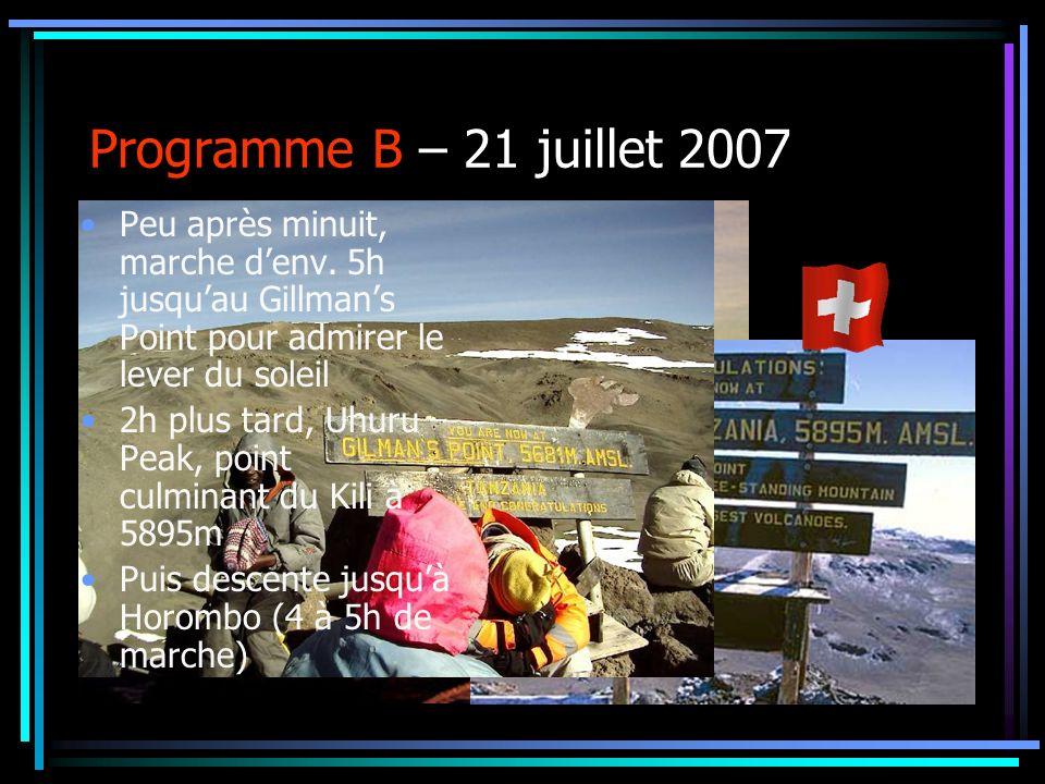 Programme B – 21 juillet 2007 Peu après minuit, marche d'env. 5h jusqu'au Gillman's Point pour admirer le lever du soleil.